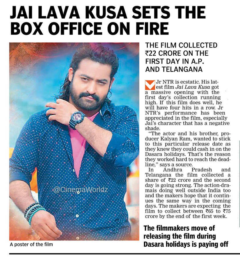 #JaiLavaKusa sets the box-office on fire. The film collected ₹22 crore on the first day in A.P. and #Telangana  #Tamannaah #swingzara<br>http://pic.twitter.com/Narzcb5qeO