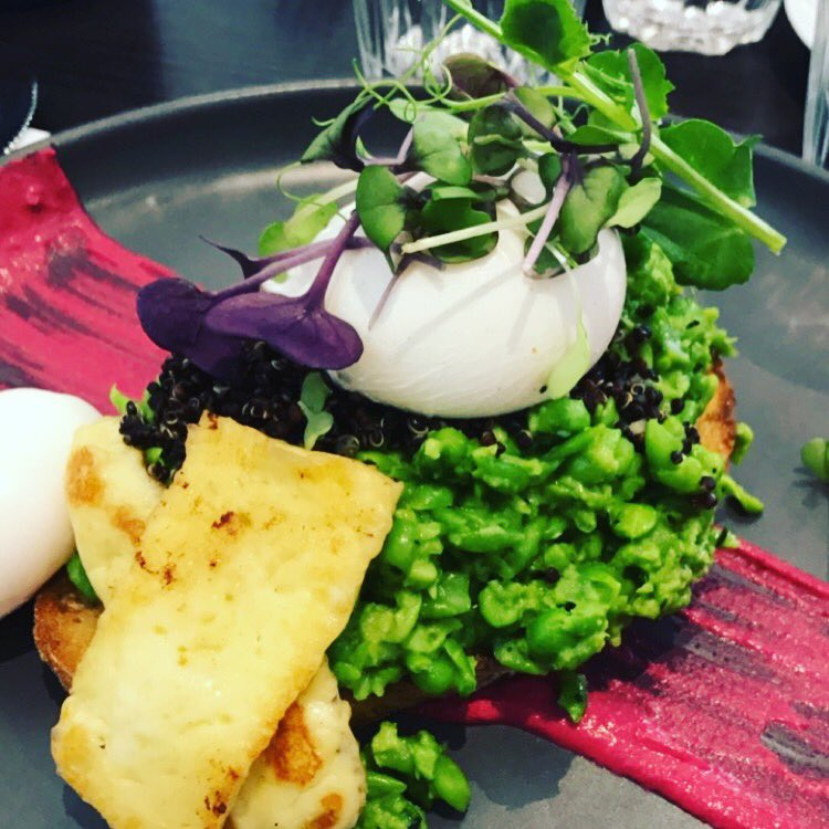 Today&#39;s lunch #eggs #poached #smashed #peas #haloumi #beetroot #feta #quinoa #sourdoughbread<br>http://pic.twitter.com/ij2ma9V8Uj