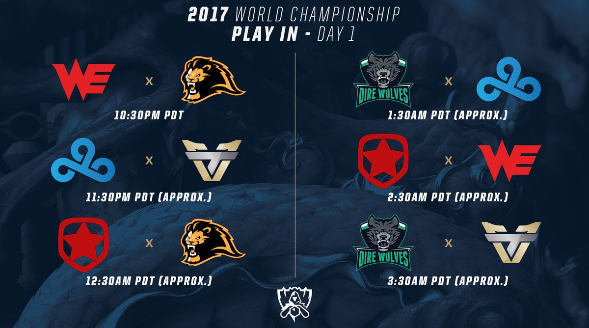 Today's games that kick off the Play-In Stage at #Worlds2017: https://...
