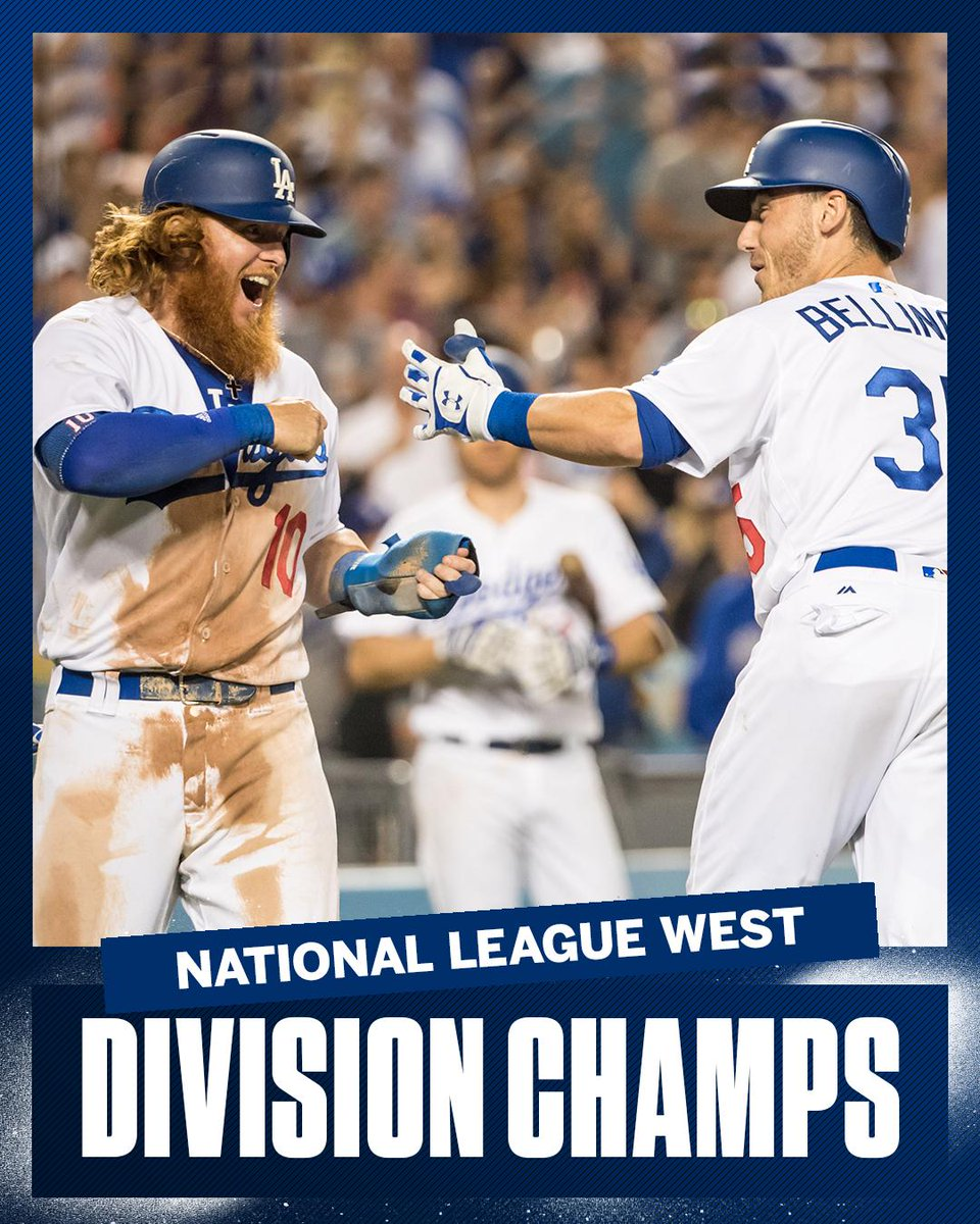 Give 'em a five!  The Dodgers win their fifth straight division crown, just the sixth team in the last 48 years to do so.