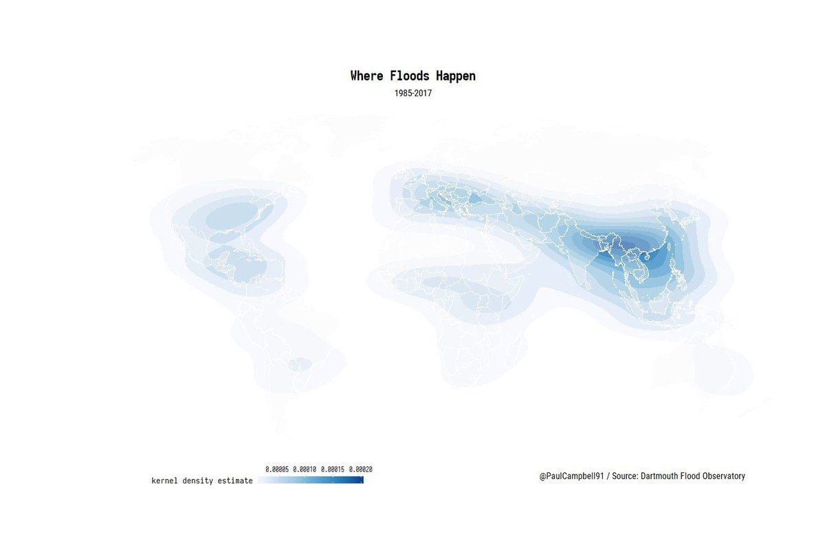 Artfully crafted #map by @PaulCampbell91 shows all #floods over the last 30 years. #Asia worst hit region. <br>http://pic.twitter.com/rF0zEkdzAq