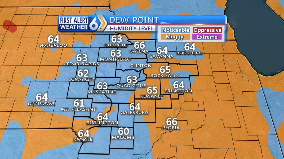 Kwqc Tv6 News On Twitter Dew Points In The 60s Means Itll Be A Muggy Start To The Day Get The Latest Forecast On Qctw On Air Right Now