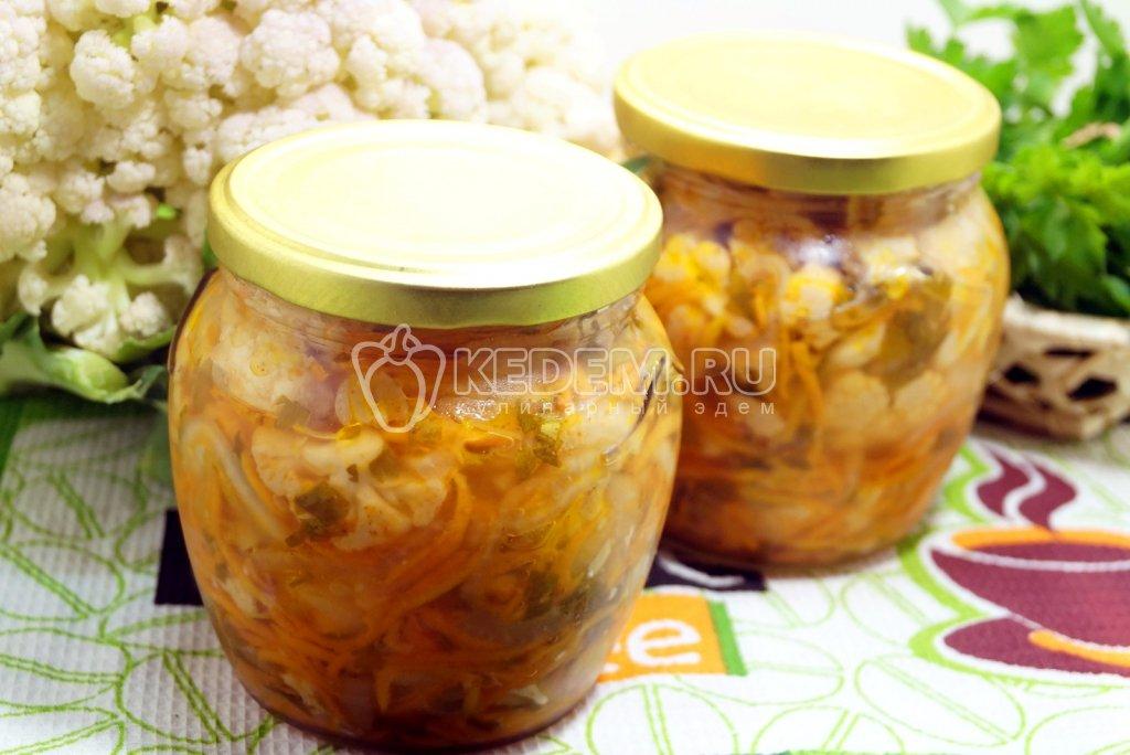 Салат из цветной капусты и баклажанов на зиму