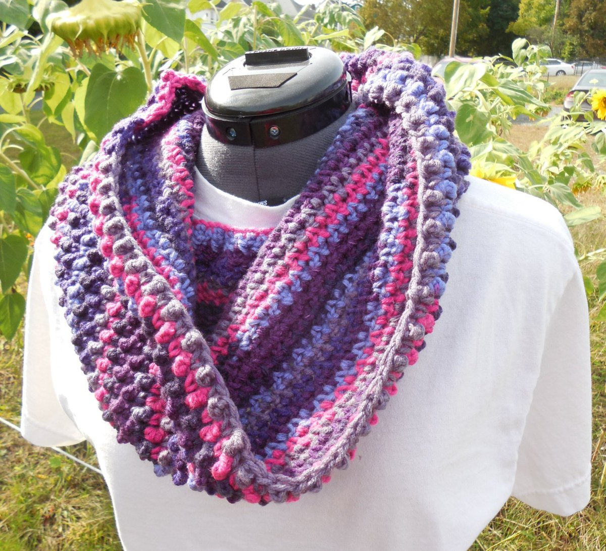 Textured Cowl Scarf, Crochet Loop, Neck Warmer Scarf, Wildberry S…  http:// tuppu.net/137ad0e1  &nbsp;   #GabbysQuilts #EpicOnEtsy <br>http://pic.twitter.com/mNLYonIjEw