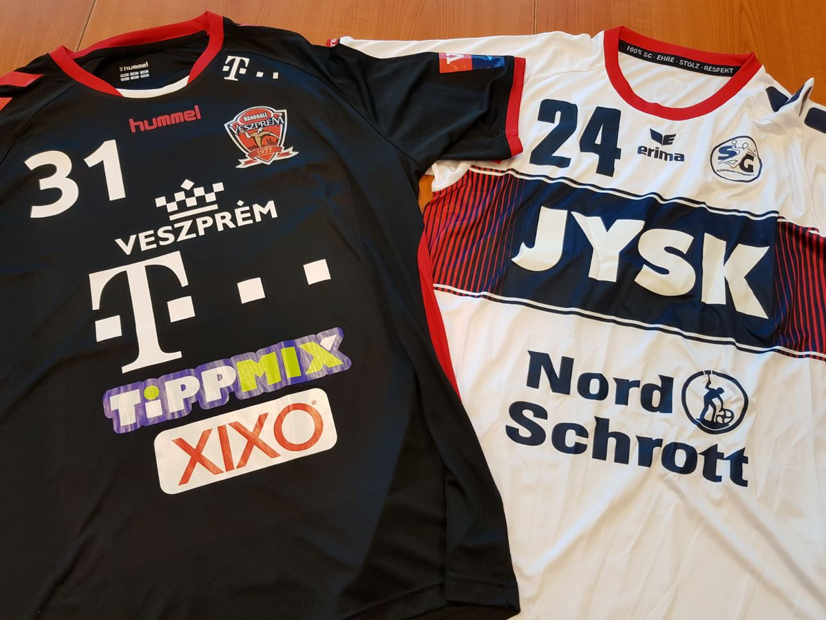 Official team jerseys in today's @ehfcl game against @SGFleHa. #HandballCity #WeAreVeszprem https://t.co/ZTyEKHC2iN
