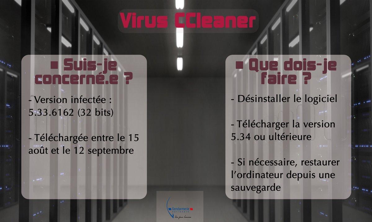 #Attention ⚠️Utilisateurs de #CCleaner, un #Malware se propage sur la version 5.33.6162 du logiciel #prudence #CyberSécurité 🔒