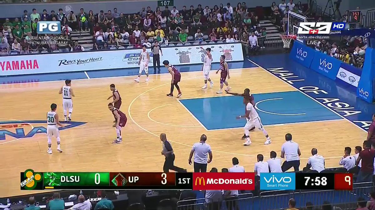 Ben Mbala has four (!!!!) three-pointers in the first quarter! #UAAPSe...
