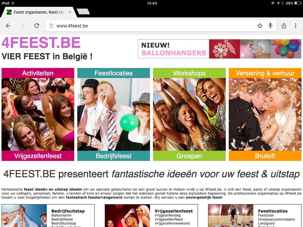 Feest organiseren?  http://www. 4feest.be  &nbsp;   &amp;  http://www. Ballonhangers.be  &nbsp;   #feest #België #Vlaanderen #Antwerpen #Gent #Genk #Mechelen #Brugge<br>http://pic.twitter.com/MpxSCcOmqC