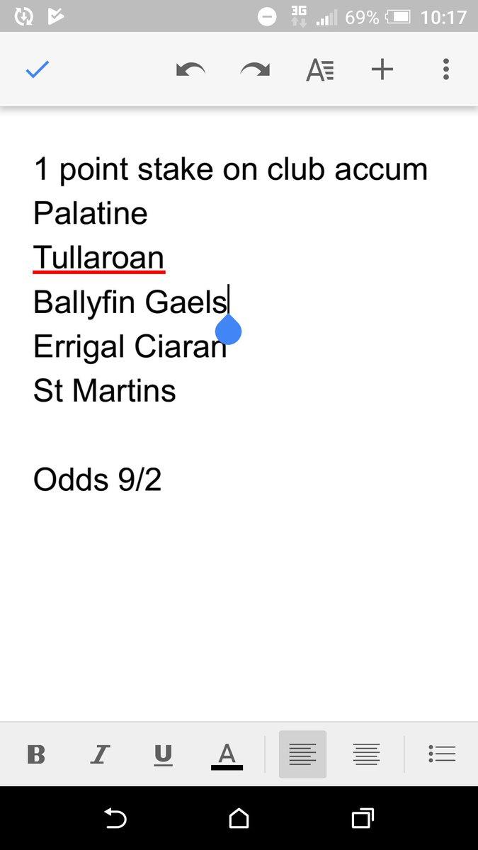 club gaa betting odds
