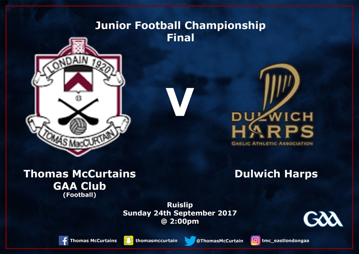 Just one day to go till our footballers play their Championship Final against @DulwichHarps  All support welcome #TMC #GAA <br>http://pic.twitter.com/fwQRhWQ5p6