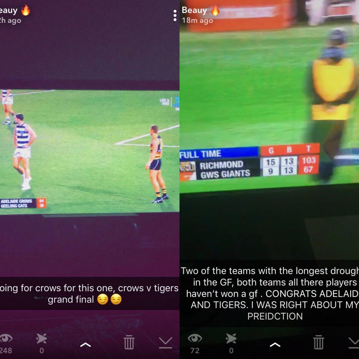Was right about my prediction, Crows v Tigers Grand Final  #Predictor #AFL #AFLGF  #AFLFinals  #AFLCrowsCats #AFLTigerGiants<br>http://pic.twitter.com/OlkGX5VDsa