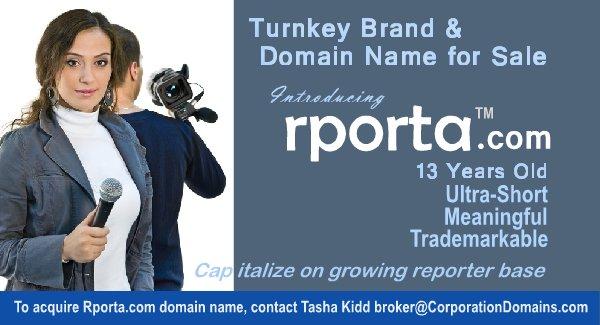 rporta(.)com #Domain &amp; turnkey #brand for growing #news outlets, #reporters &amp; #reporter platforms. Perhaps #AI #BigData #Robotics #startup<br>http://pic.twitter.com/BI6OzwGGuW