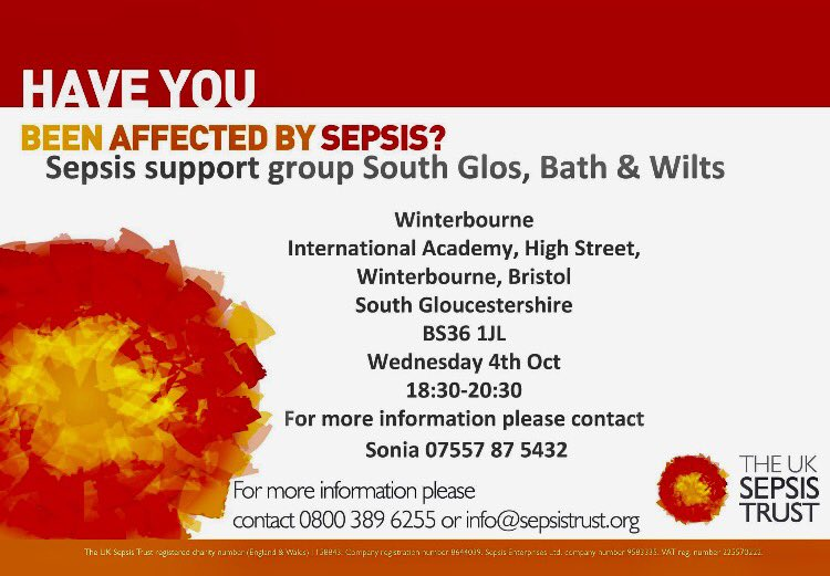 Bye #Sepsis Awarness month&amp; #WorldSepsisDay BUT the support continues @UKSepsisTrust Support Groups #SouthGlos #Bath #Wilts 4th #Bristol 9th<br>http://pic.twitter.com/43ZDJdZkzl