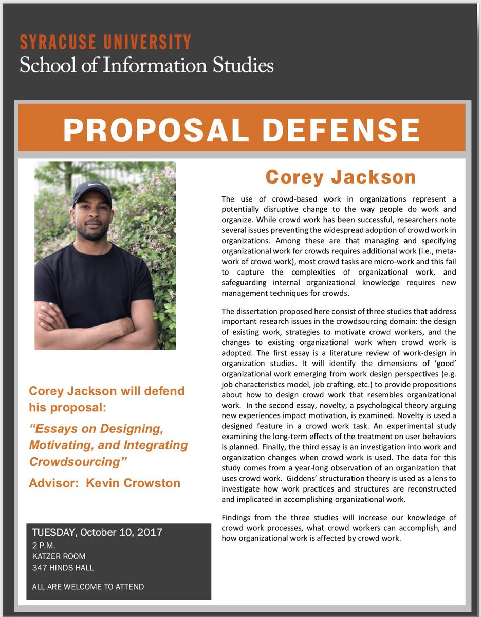 Persuasive Essay Topics For High School Phd Ischool Syracuse On Twitter Corey Jackson Proposal Defense Essays  On Design Motivation And Integration Of Crowdsourcing   Oct   At  Pm  Buy Essay Paper also Thesis Statement Generator For Compare And Contrast Essay Phd Ischool Syracuse On Twitter Corey Jackson Proposal Defense  Cause And Effect Essay Thesis