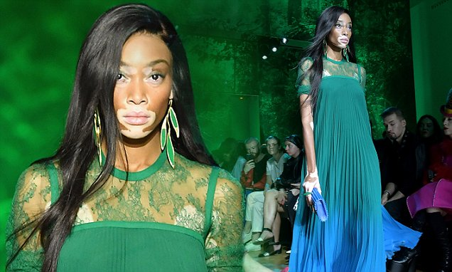 Winnie Harlow walks in Elie Saab&#39;s Paris Fashion Week show #winnie #harlow #walks #paris #fashion  http:// dlvr.it/PrWgzj  &nbsp;  <br>http://pic.twitter.com/35k3rjKQQh
