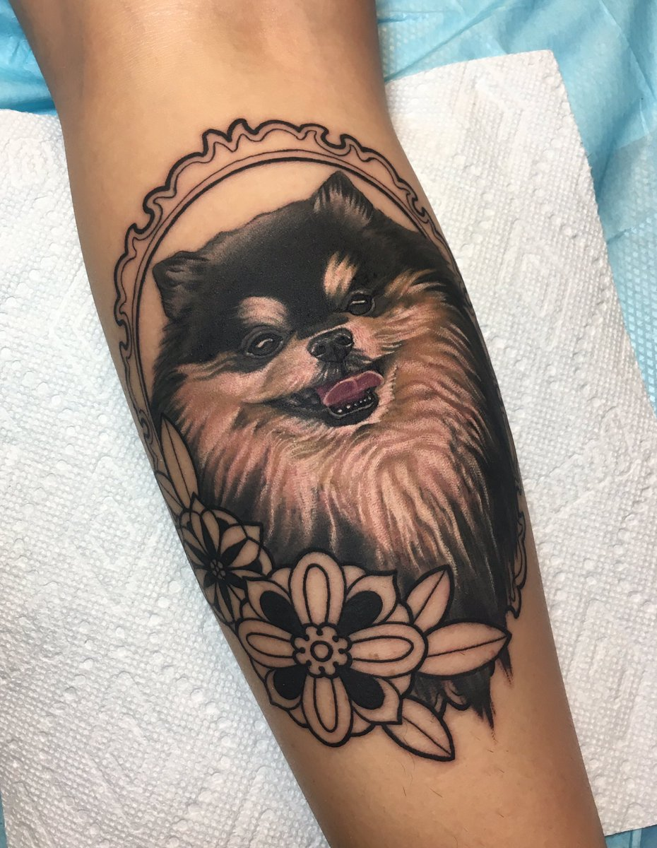The start of something pretty cute 🌸🐶 Pomeranian tattoo from yesterday at @GritNGlory ✨ Can't wait to add more color next session!