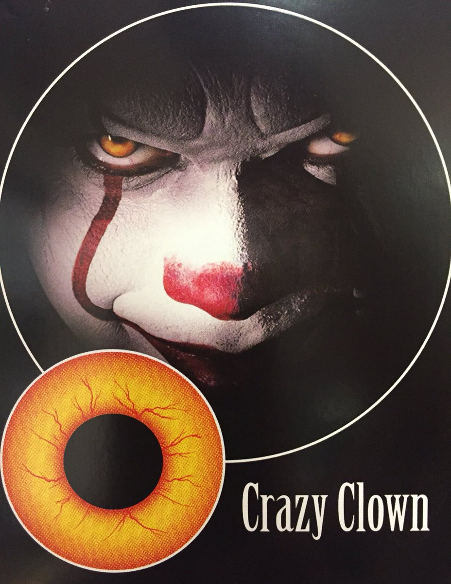 Bring IT to the party with crazy clown contacts.  Just arrived in store.  1 day use £8.  #IT #crazyclown #contacts #freshers2017 #Newcastle<br>http://pic.twitter.com/oV3VV8iULN