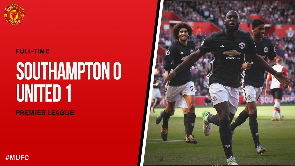 FT: Southampton 0 #MUFC 1. A hard-fought win thanks to @RomeluLukaku9&#39;s goal keeps us level on points at the top of the table. #SOUMUN<br>http://pic.twitter.com/wzR5WBfnNc