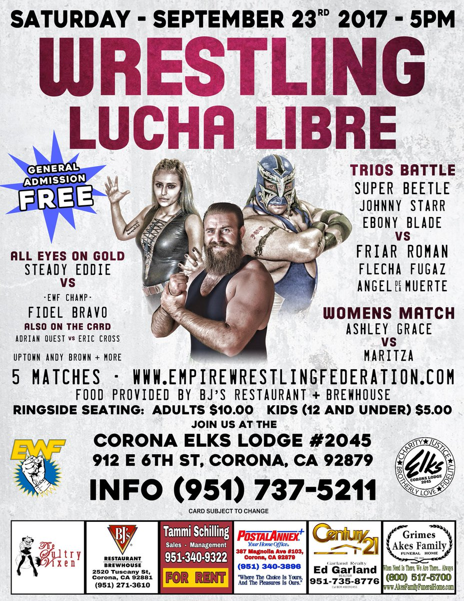 8 hours and counting till bell time in Corona! #EWF #WeAreEmpire #prowrestling #luchalibre <br>http://pic.twitter.com/AUHHu3bk8y