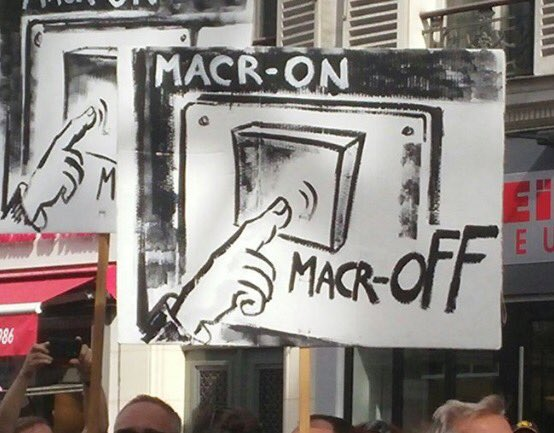 #CoupdEtatSocial: Anti-#Macron messages spread through signs, art, revolutionary #graffiti #LoiTravailXXL #FranceInsoumise #23Septembre #PCF<br>http://pic.twitter.com/ZslXC6SdBC