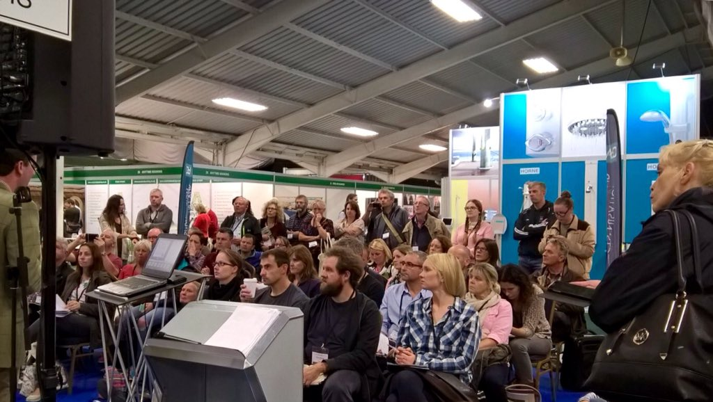 Standing room only for @RuralRiches at the #GlampingShow on the final furlong of a fantastic event.  #expert #advice<br>http://pic.twitter.com/rALF4Tznb1