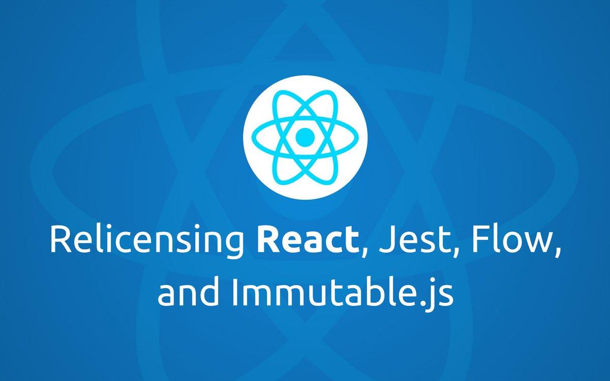 Relicensing #React , Jest, Flow, and Immutable.js  https:// code.facebook.com/posts/30079862 7056246/relicensing-react-jest-flow-and-immutable-js/ &nbsp; …  #reactjs #javascript #Nodejs #webdevelopment #frontend #JS<br>http://pic.twitter.com/VciPselua4