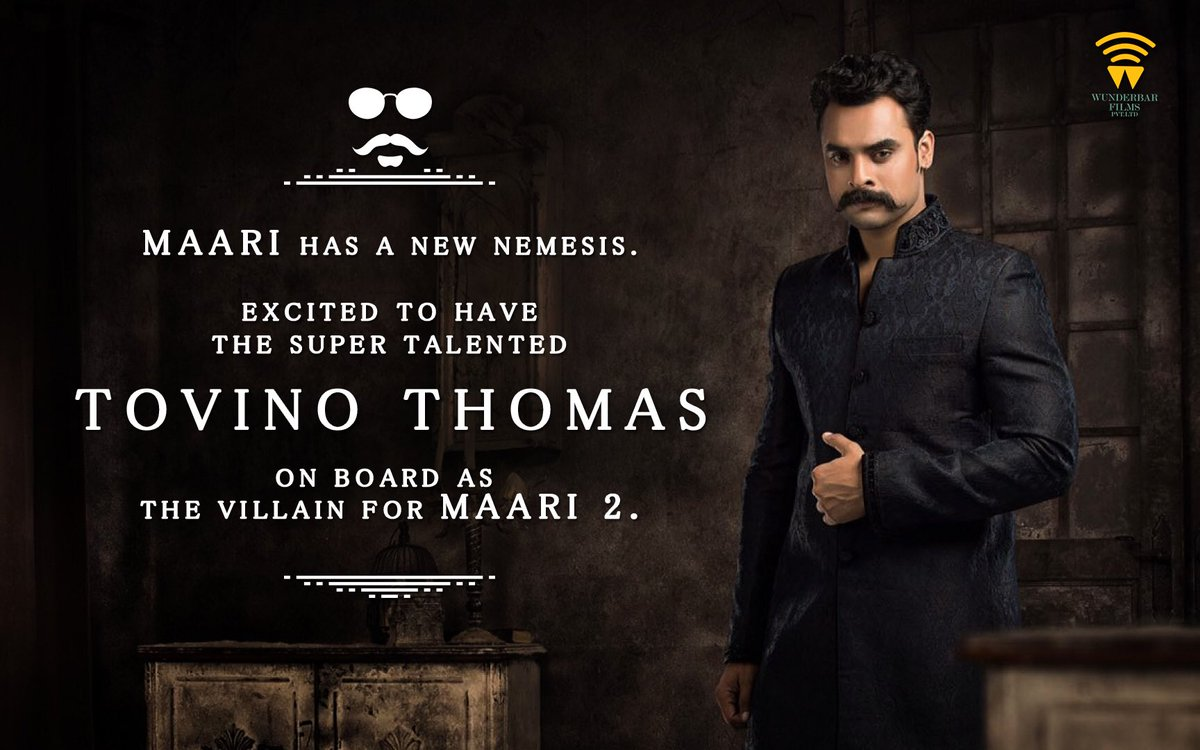 First #Maari2 update! #Maari has a new nemesis. Happy to have @ttovino #TovinoThomas on board!🙂 One of the most fav characters I've written🙂
