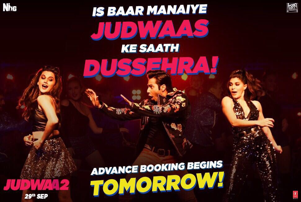 This Dussehra book your seats for total madness with #SajidNadiadwala&#39;s #Judwaa2 ! Adv booking opens tomorrow. #DavidDhawan @Varun_dvn<br>http://pic.twitter.com/KjVYSYFoX1