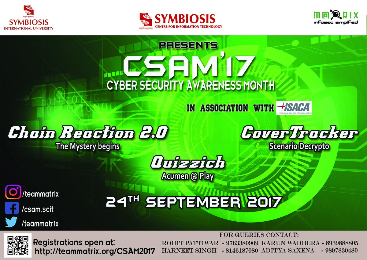 Join us @MBA_SCIT  #CSAM #Security #AI #CyberSecurity #CyberAware #CyberAttack #cybersecuritymonth #cybercrime<br>http://pic.twitter.com/RofpMP5yWR