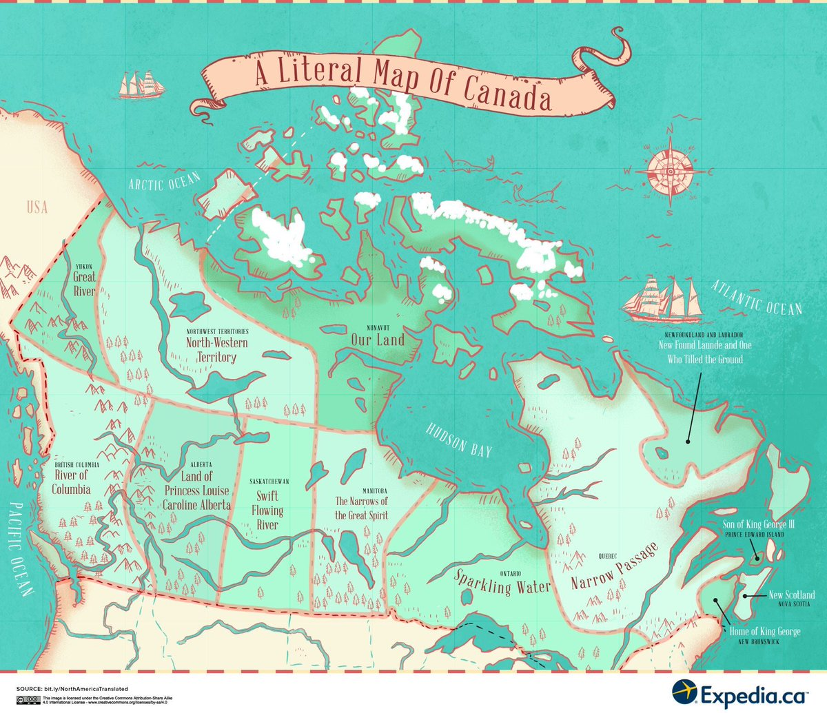 Oh #Canada! A literal map explaining the meaning/origin of  place names | via @simongerman600<br>http://pic.twitter.com/PalGjZ1KMs