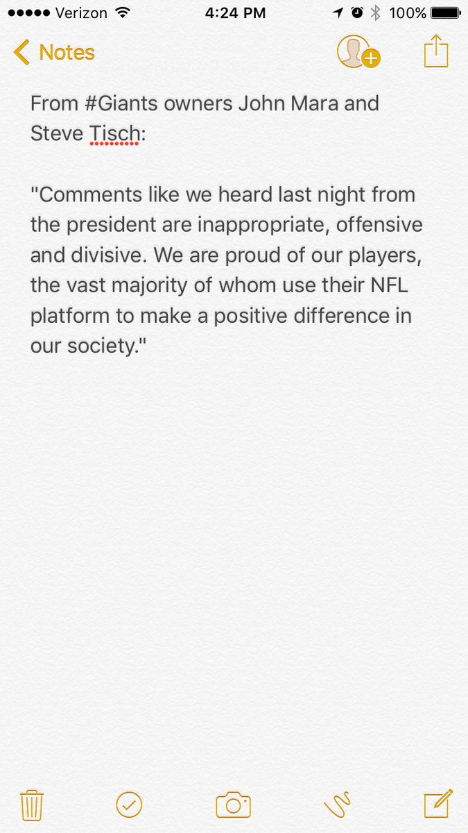 A statement from #Giants owners John Mara and Steve Tisch, in response...