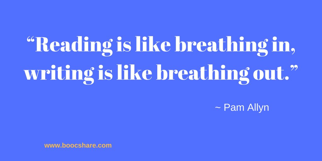 """""""Reading is like breathing in, writing is like breathing out."""" – Pam Allyn #amreading #boocshare<br>http://pic.twitter.com/rSelvy9zZU"""
