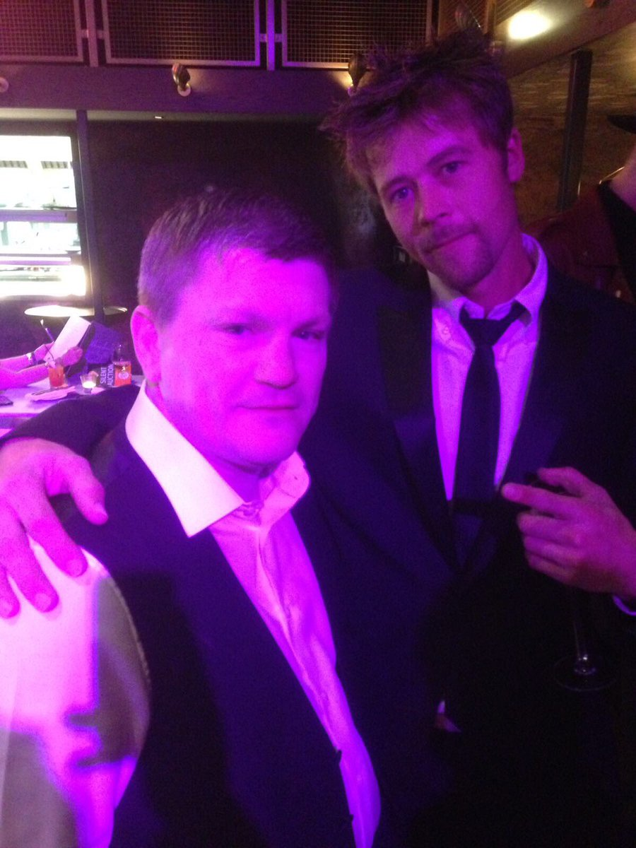When Brad Pitt aka @nathanmeads met World Boxing Champ @HitmanHatton people still talking about what a Charity Event @MenagerieMCR #WeMCR <br>http://pic.twitter.com/F1IQ8Sejvv