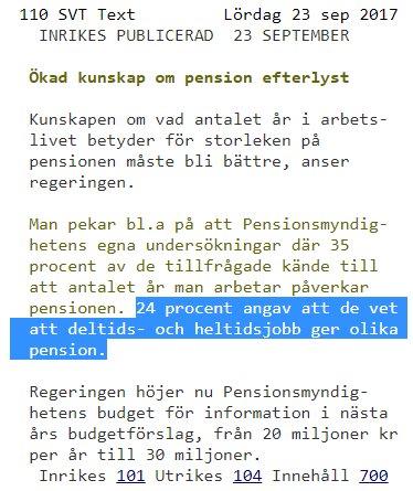 Deltid ger lagre pension