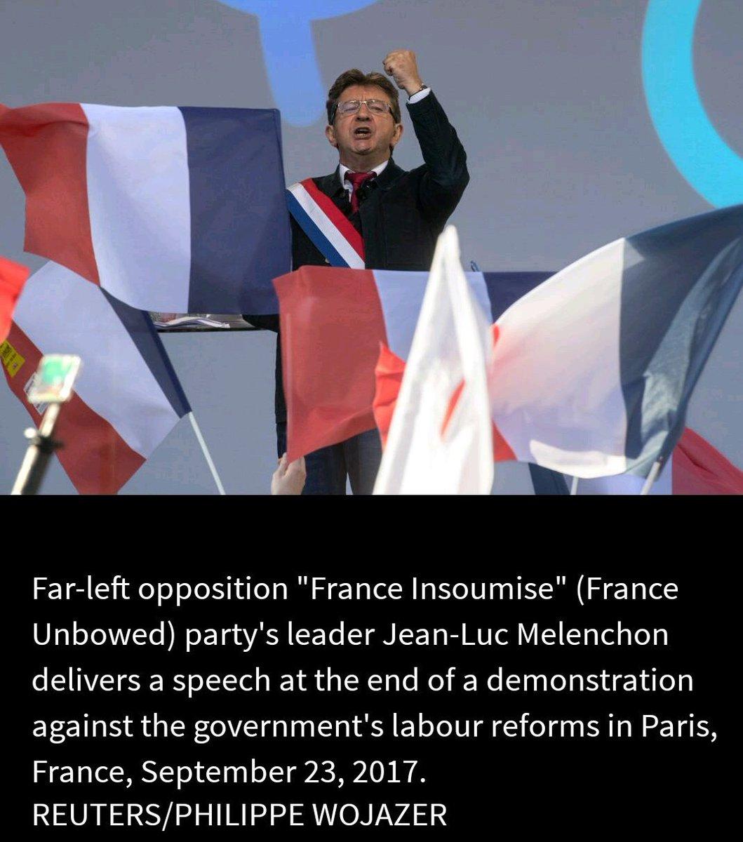 &quot;France&#39;s far-left leader urges French &#39;resistance&#39; against #Macron&quot;   http://www. reuters.com/article/us-fra nce-reform-protests/frances-far-left-leader-urges-french-resistance-against-macron-idUSKCN1BY07K &nbsp; … <br>http://pic.twitter.com/z5okDd1jnH