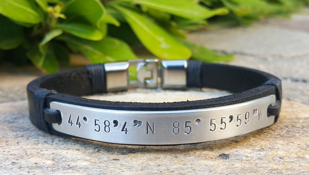 Personalized Leather Bracelet, Custom GPS Coorditanates Jewelry, Engraved, Handstamped  https:// seethis.co/OoopQ9/  &nbsp;   #epiconetsy #etsygift <br>http://pic.twitter.com/F7VuATw0p4