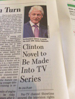 He&#39;s been in the business of promoting &quot;fiction&quot; for years! #BillClinton #Novel #TV <br>http://pic.twitter.com/MB9YaDEivF