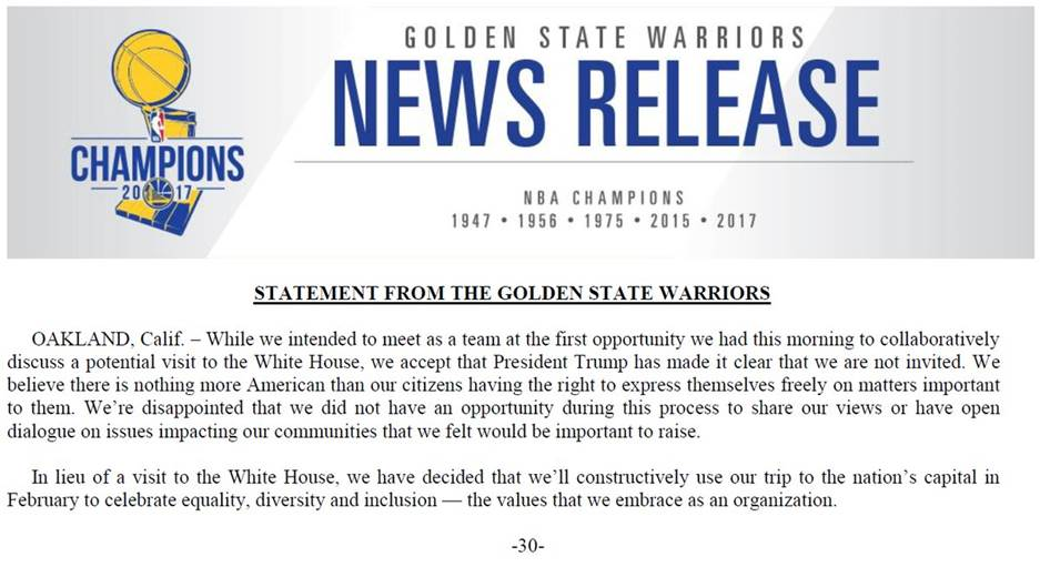 """JUST IN: Warriors respond to Pres. Trump: 'There is nothing more American than our citizens having the right to express themselves freely."""""""