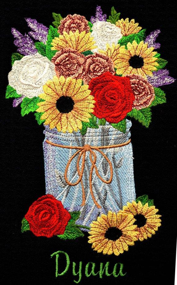 Embroidered #dishdryingmat #coffeemat #coffeepotmat #placemat  http://www. etsy.com/listing/504798 015 &nbsp; …  #pottiteam #handmade #flowers #masonjar #black #custom <br>http://pic.twitter.com/lmrDu56wmS