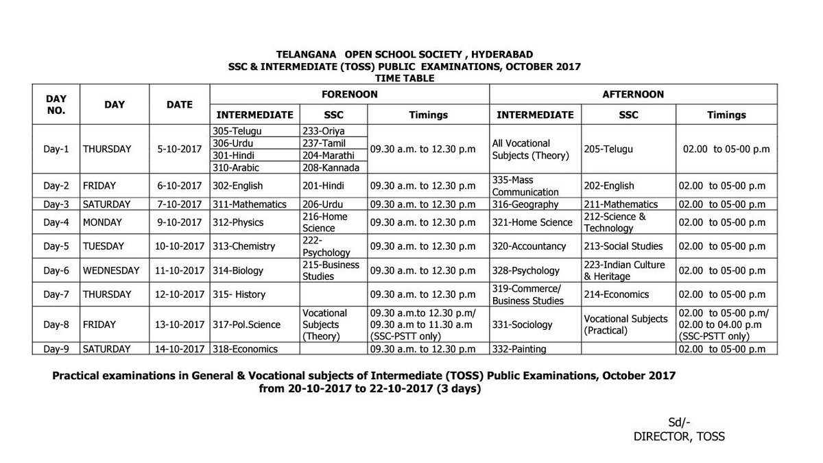 #TOSS EXAMS TIME TABLE #Telangana <br>http://pic.twitter.com/D53NNyOIul