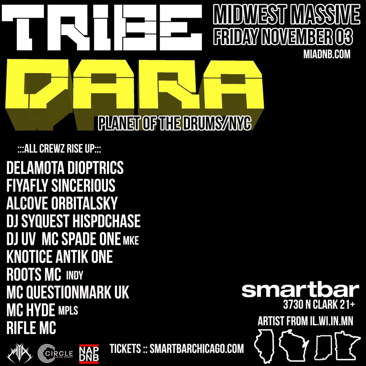 @daralickt  back in Chicago and back at @SmartBar  #midwestMassive w 16 artist from all over #Wi #Il #mn #IN<br>http://pic.twitter.com/5qpz3VaFR8