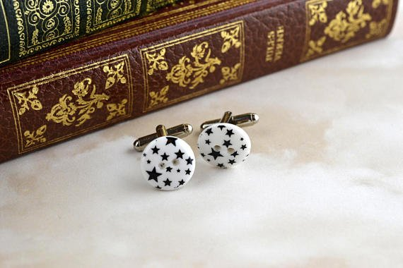 White with black stars modern button cufflinks, #upcycled #repurposed  http:// etsy.me/2wdSQNG  &nbsp;   #Etsy #glasgowetsy #shopscotland #handmadehour<br>http://pic.twitter.com/5vUDWjYmkl