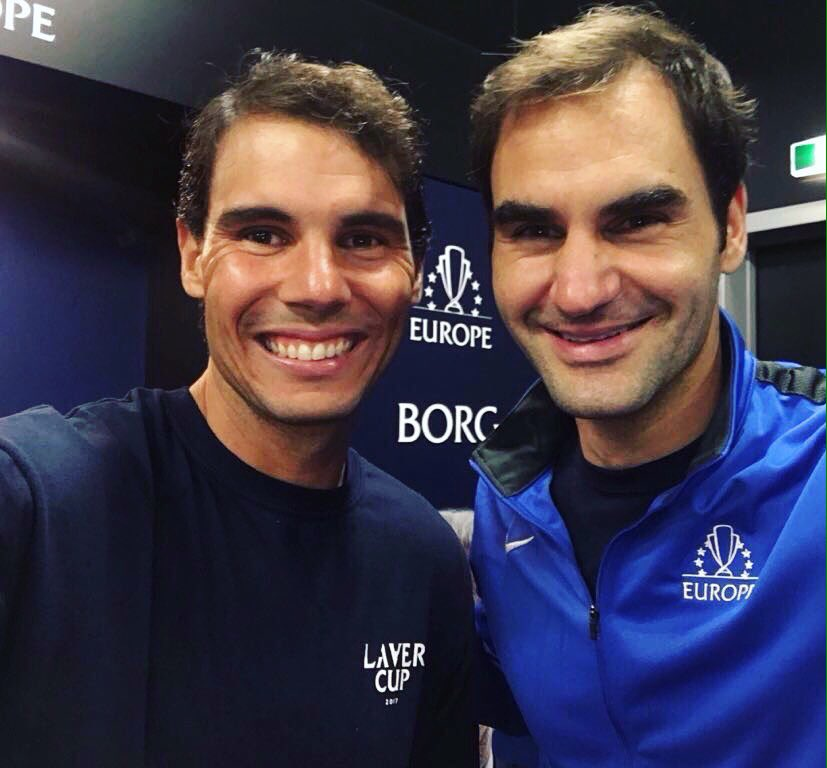 📸 with my doubles partner @RogerFederer! Happy to have played with Roger for a change😉 @LaverCup #TeamEurope