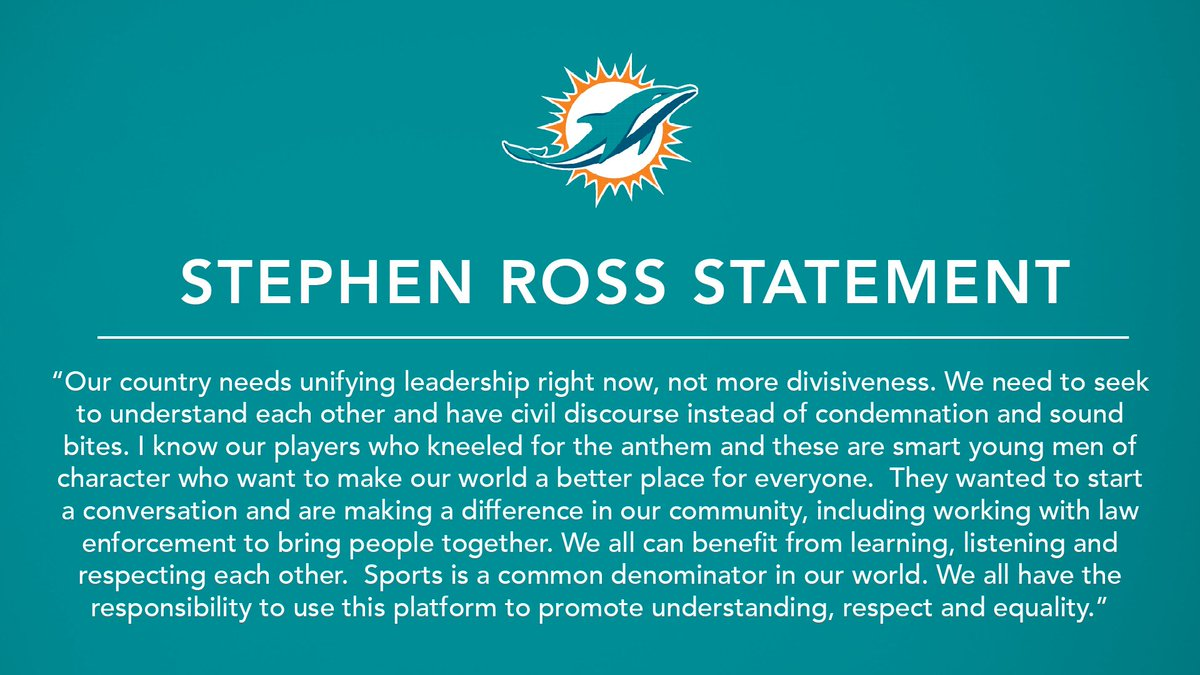 Statement from Miami Dolphins Owner and Founder of Ross Initiative in Sports for Equality (RISE) Stephen Ross. https://t.co/6W3mXwJO6M