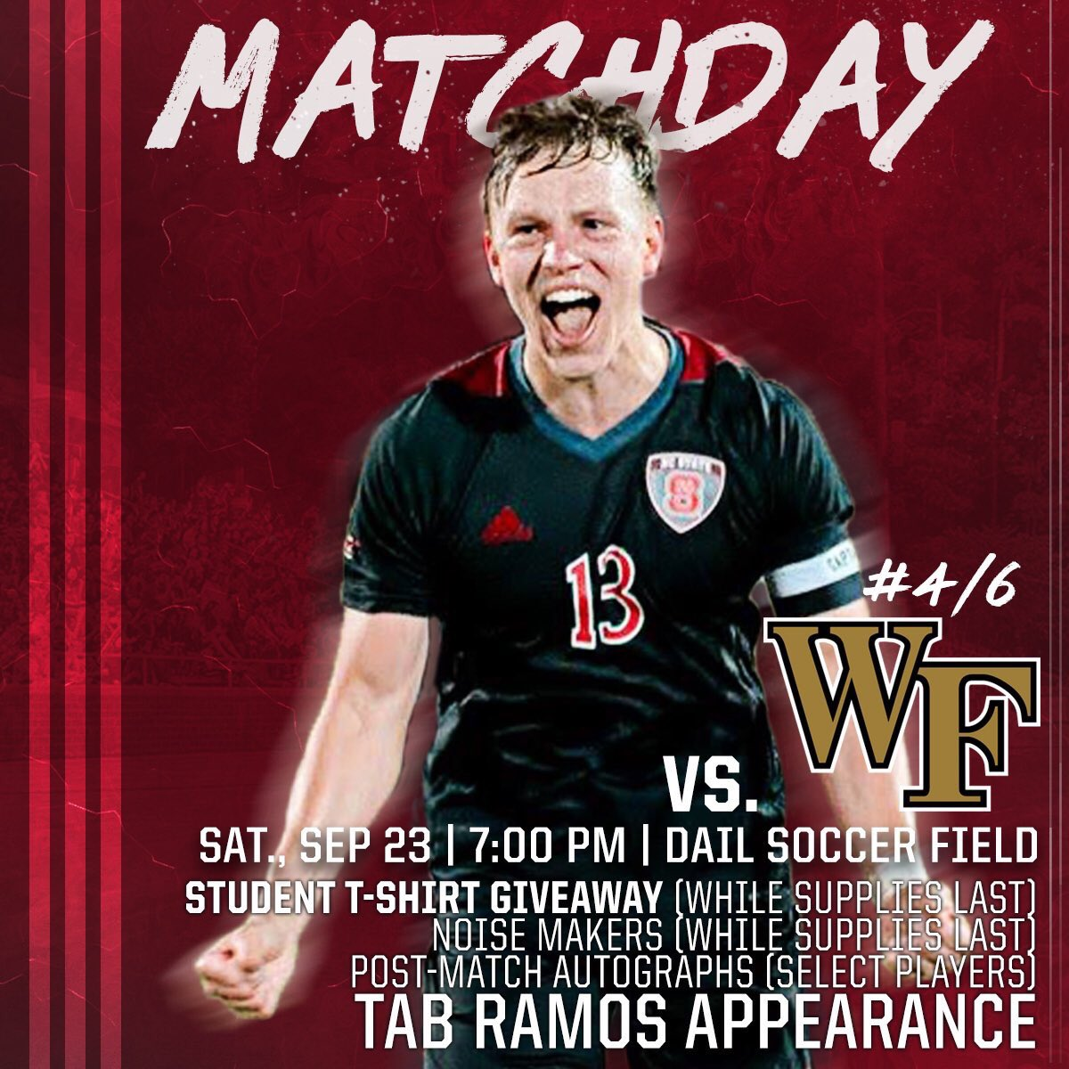 #WPN, we&#39;re not done! Let&#39;s  PACK the Dail as @PackMensSoccer takes on No. 4 Wake Forest at 7 PM!  #NeverAlone <br>http://pic.twitter.com/G5CPIxkOpI