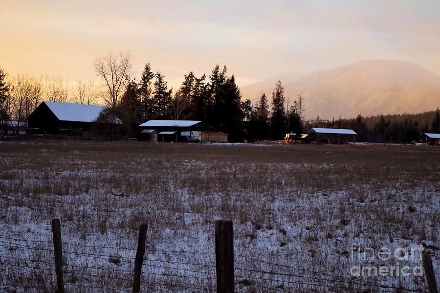 Winter Farm by Victor K #quietness  #fineart #romantic #landscape #winter #sunset #farmfield #ranch #mountain #sky  https:// buff.ly/2h5Yqey  &nbsp;  <br>http://pic.twitter.com/RLCWAXreVk
