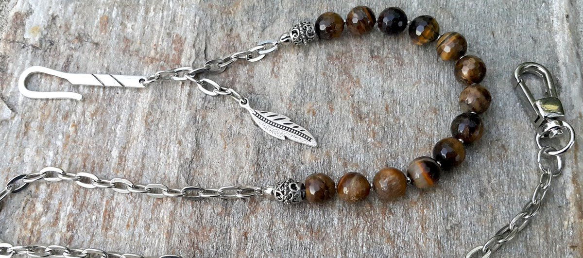Mens Wallet Chain Genuine Brown Braided Leather Brown Gemstone 925 Silver Handmade Hook  https:// seethis.co/4zzOXL/  &nbsp;   #epiconetsy # handmadehour <br>http://pic.twitter.com/dN4OfCT1ji