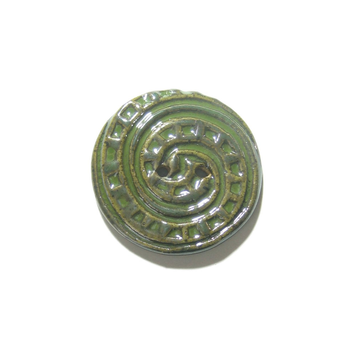 Large Rustic Round Seaweed Green Spiral Stoneware Button, (1) Two Hol…  http:// tuppu.net/fdd698f4  &nbsp;   #epiconetsy #etsymntt<br>http://pic.twitter.com/RLZFpmMdxw