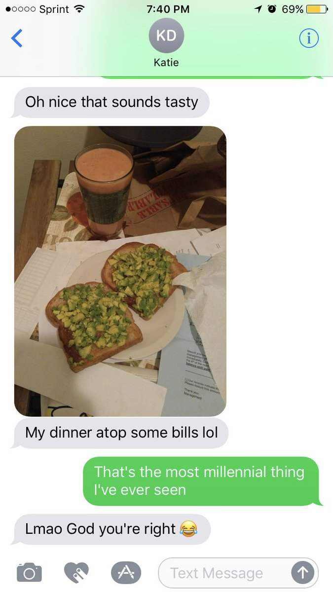 Millenial Dinner: Avocado toast on a stack of bills. @kttkttt #Millennials #avocadotoast<br>http://pic.twitter.com/EvIiC0GxGi