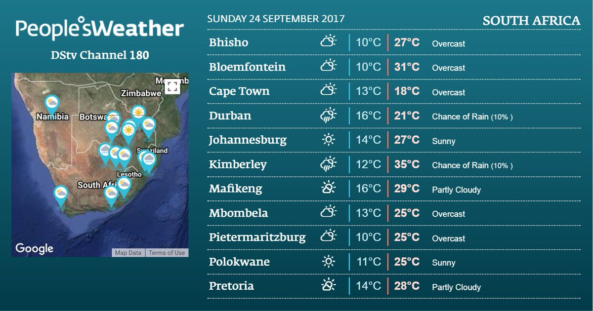 #SouthAfrica 24 Sep @DStv Ch180 or visit:  http://www. peoplesweather.com/weather/countr y/South+Africa/ &nbsp; …  @SocialSA_ @iLoveRSA @SouthAfricaRail @GoToSouthAfrica #HeritageDay<br>http://pic.twitter.com/4BZKv5Zpo5